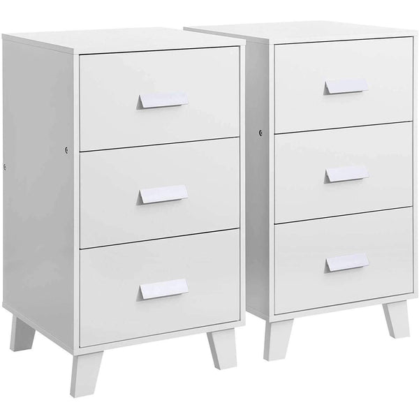Nancy's Naperville Bedside 2 Pieces - Bedside Set Of 2 White - 40 x 38 x 70 cm