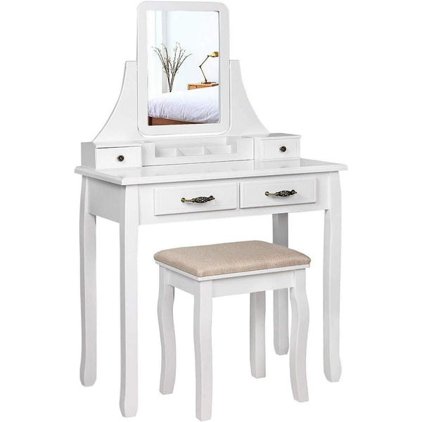 Nancy Caroline's Dressing Table Set With Mirror And Stool - Makeup Organizer - Dresser White Wood