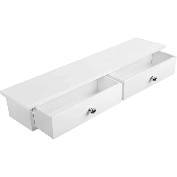 Nancy's Floating Wall shelf with 2 drawers - white - Wall shelf