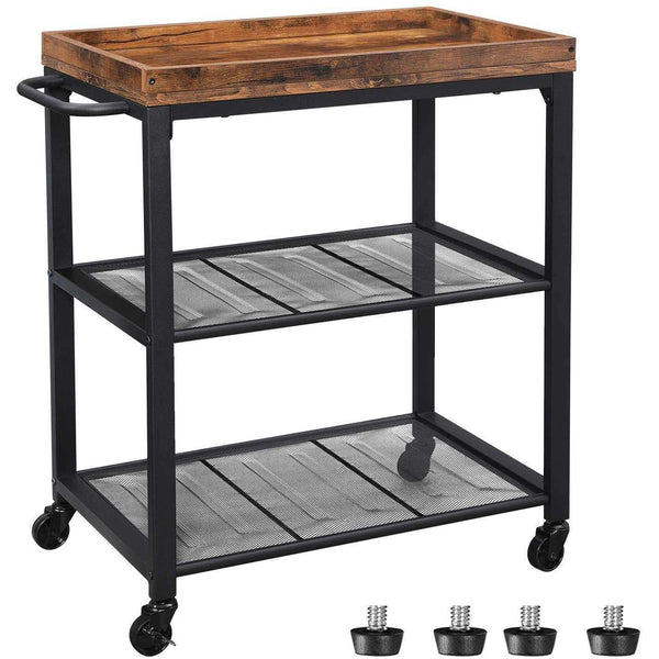 Nancy's Vintage Kitchen trolley - Trolley - Trolleys Kitchen - Rustic Brown - Industrial Trolley - 60 x 40 x 75 cm