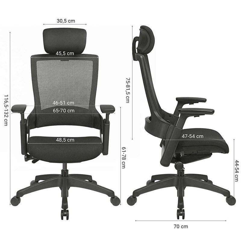Nancy's Luxury Ergonomic Office Chair - Mesh - Adjustable - Office Chairs - Black - 70 x 66.6 x 44 cm
