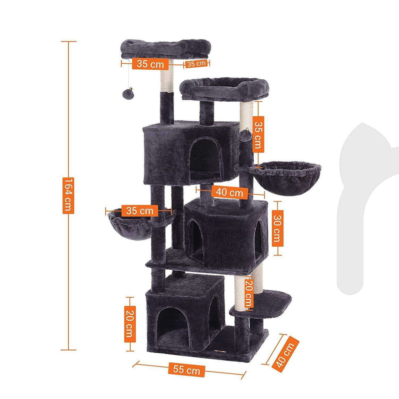Nancy's XXL Cat tree - Cat tower with 3 caves - Scratching post - Scratching posts for cats - Dark gray - 55 x 40 x 164 cm
