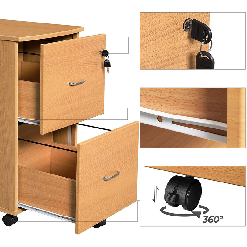 Nancy's Drawer unit Brown - Steel Locker On Wheels - Office cupboard - Roll container - 45 x 43 x 72 cm