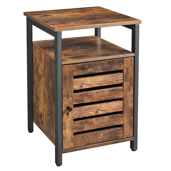 Nancy's Industrial Nightstand - Bedside Cabinets - Wood - Metal - Brown - 40 x 40 x 60 cm