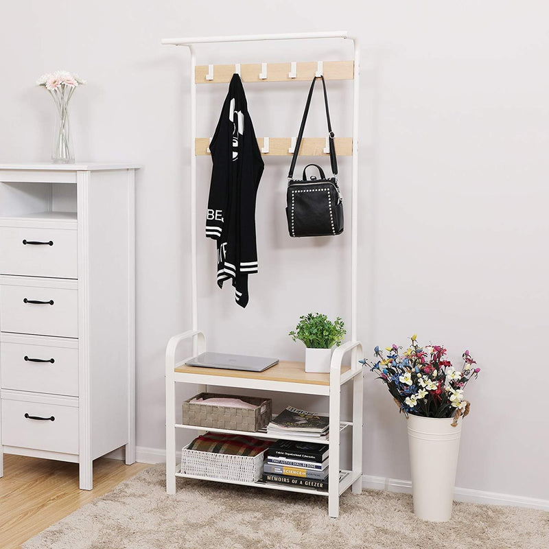 Nancy's Standing Wardrobe with Coat Rack - Shoe Rack and Bench - Vintage Industrial - Coat Hooks - Beige / White - 72 x 33.7 x 183 cm