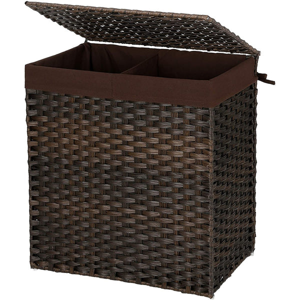 Nancy's Hand-woven laundry basket - Laundry baskets with lid and handle, foldable, detachable liner bag - 110L - brown