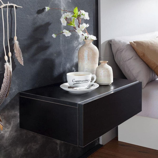 Nancy's Bedside Floating Black - Wood Nightstand - Floating Bedside