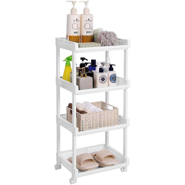 Nancy's Kitchen Trolley - Kitchen trolley - Trolley On Wheels - Kitchen Trolleys -White - 36.5 x 28 x 86 cm (W x D x H)
