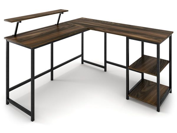 Nancy's Sunnyvale Desk - Desks - Corner Desk - L-Shaped - Industrial - Black / Brown - 145 x 155 x 75