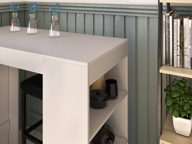 Nancy's Stanley Bartable - Dining table - Kitchen table - Storage - Engineered wood - White/Brown - 110 x 50 x 130 cm