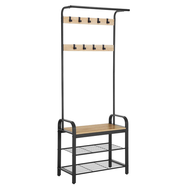Single Nancy's clothes hanger with Hallstand - Shoe and Bank - Vintage Industrial - Kapstokken - Beige / Black - 72 x 33.7 x 183 cm