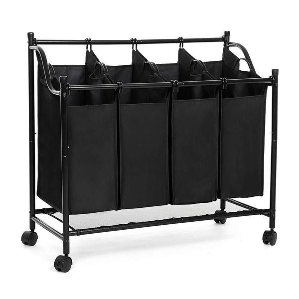 Nancy's Wassorteerder - Laundry basket with 4 compartments - Laundry Bin - Waswagen - Laundry Sort - Wascollector - Black