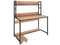 Nancy's Miramar Desk - Computer table - Office table - Storage - Trolley - Carved wood - Steel - Light brown - Black - 119 x 62 x 34 cm