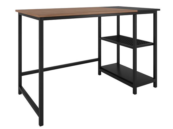 Nancy's Rialto Desk - Computer Table - Office Table - Storage - Mouse Mat - Engineered Wood - Powder Coated Steel - Black Brown - 120 x 60 x 75 cm