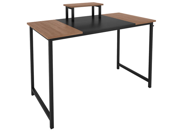 Nancy's Davie Desk - Computer table - Office Table - Monitor Stand - Mouse Mat - Brown - Black - Carved Wood - Steel - 120 x 60 x 75 cm