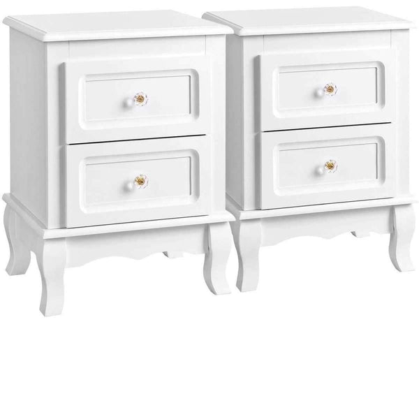 Nancy's Bannockburn Bedside Set 2 with 2 Drawers, Transparent Handles with Solid Pine Wood Legs