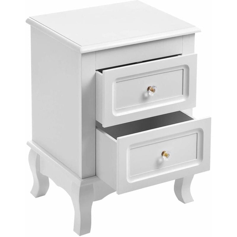 Nancy's Dearborn Wood Nightstand - Cupboard With Drawers - Cabinet For Next Bed - White
