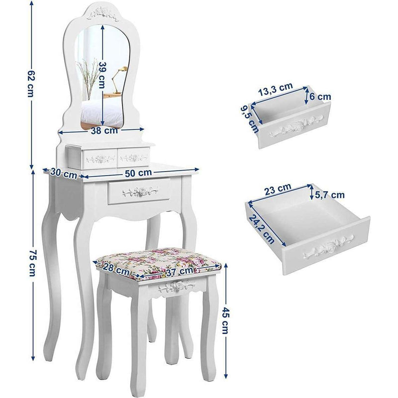 Nancy's Malibu Dressing Table With Stool And Mirror - Make Up Table White 135 x 50 x 30 cm