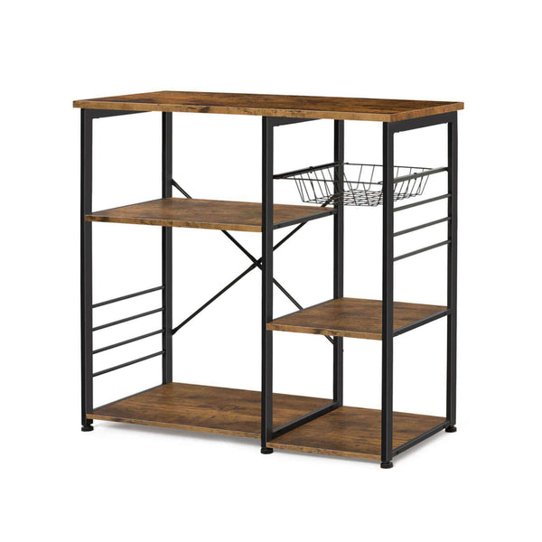 Kitchen unit Nancy's Industrial - Kitchen Trolley - kitchen cabinets - Kitchen Cabinet Organizer - hooks and shelves - Magnetronrek - Vintage - 90 x 40 x 84 cm