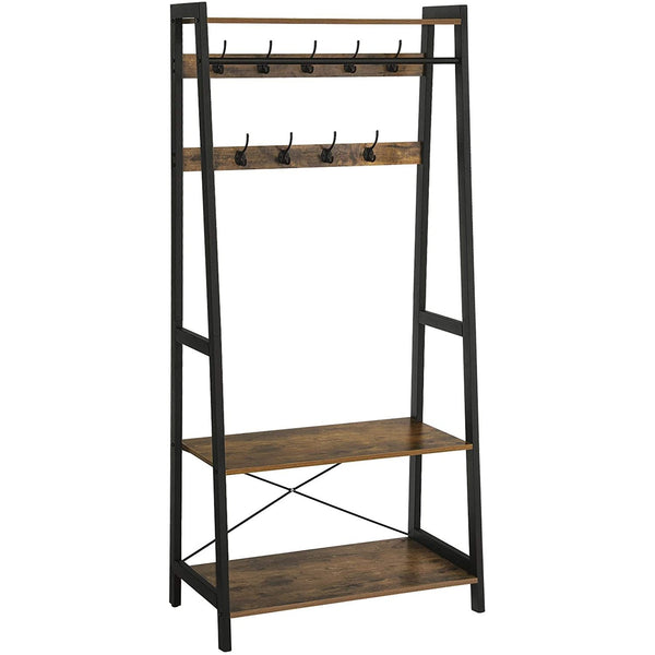 Nancy's Wenchester garderoberek with Coat Rack - Shoe - Industrial - Standing Coat rack - 9 Hooks & 2 Shelves - 76 x 42.8 x 180 cm