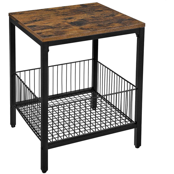 Nancy's Bryce Nightstand - Side table - Bedside - Basket - Brown / Black - Metal - 40 x 40 x 50 cm