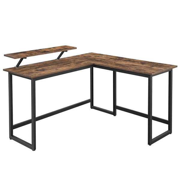 Nancy's Office - Desks - Corner Office - L-shaped - Industrial - Black / Brown - 140 x 130 x 76cm