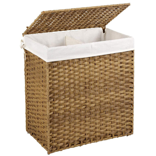 Nancy's bamboo laundry basket with two compartments - 100L - Laundry baskets with lids - Hand Woven - Brown