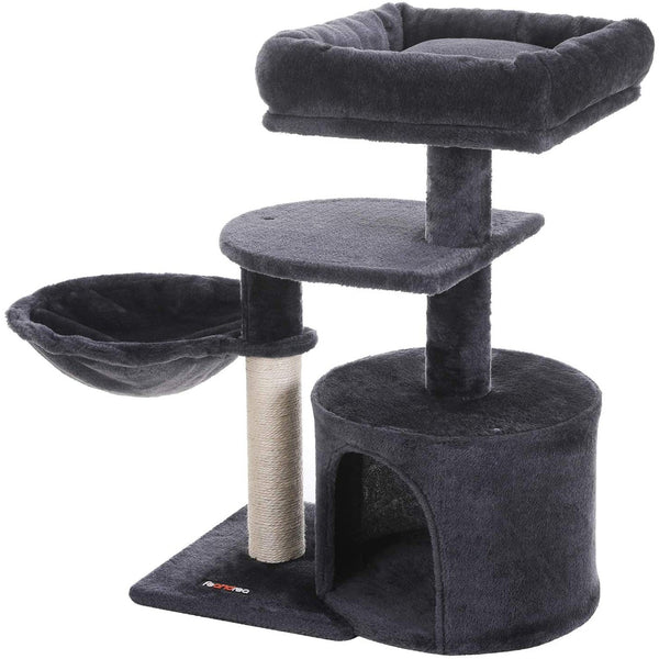Nancy's Cat Tree - Crab Poles - Hammock and Cave - Speelhuis For Cats - Smoke Gray - 48 x 32 x 68 cm (L x W x H)