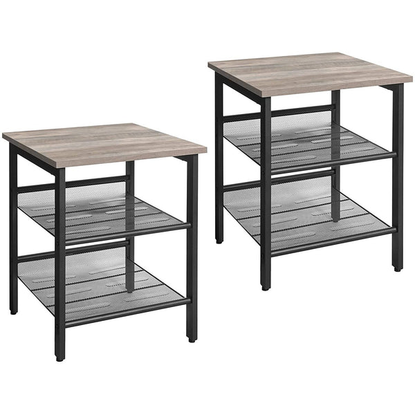 Nancy's Coffee Tables - Set 2 - Industrial - Table - Bedside - Gray / Black - 40 x 40 x 55 cm