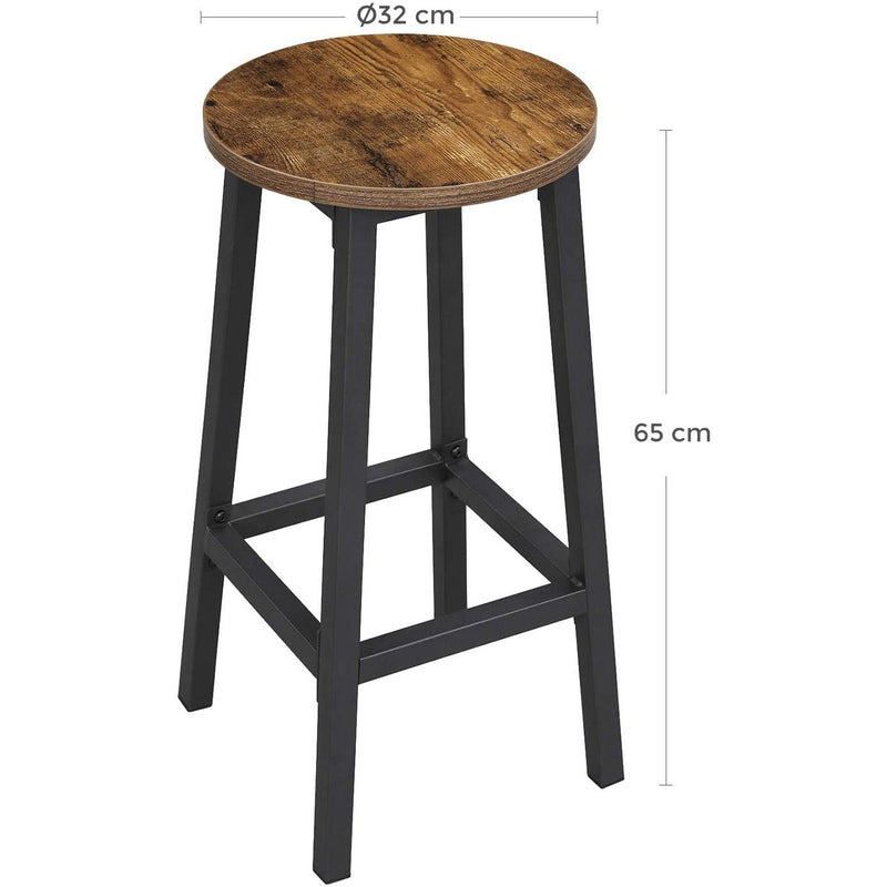 Nancy's Barkrukken 2 Pieces - High chairs with Footrest - Stool Industrial - Industrial - Stable - 32 x 65 cm (Ø x H)