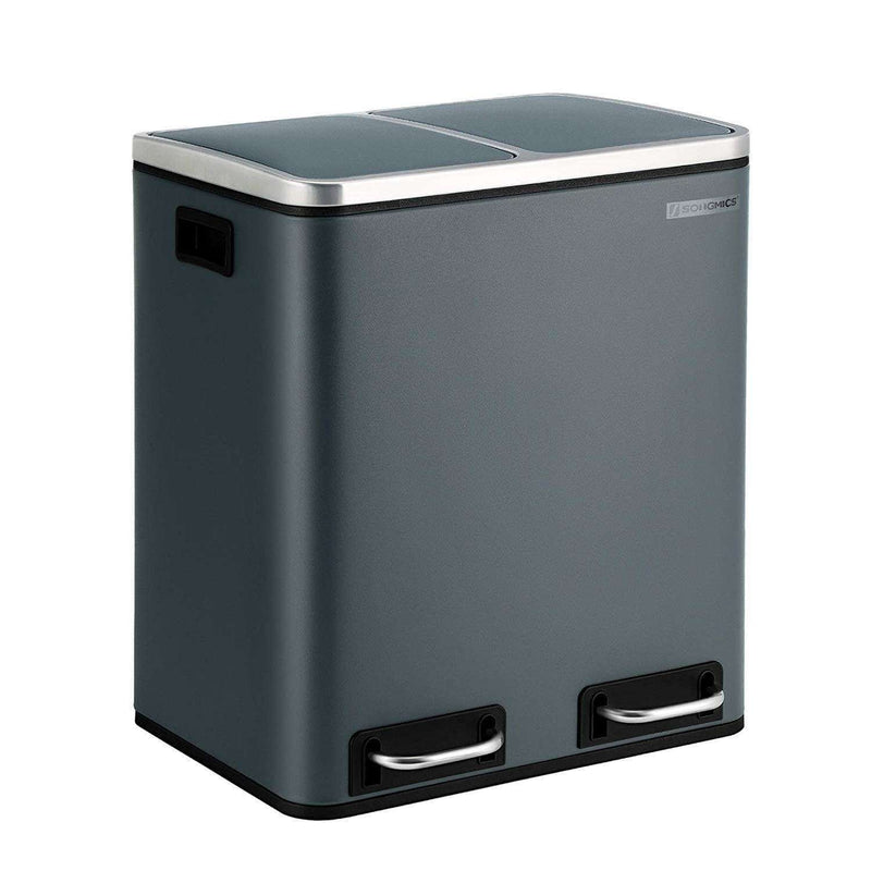Nancy's Trash Bin Waste Separation 30 Liter - Trash Cans - Pedal Bin - Black - 41 x 36 x 47 cm