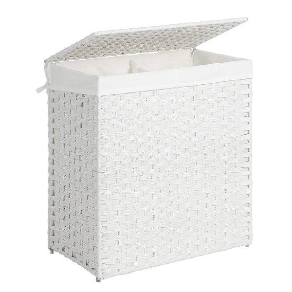 Nancy's Bamboo laundry basket with two compartments - 100L - Laundry baskets with lids - Hand Woven - White