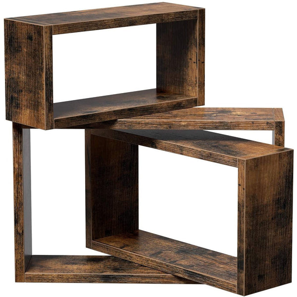 Nancy's Industrial Wall shelf Wood - Set of 3 - Float - Wall shelves - Cube Shelves - Length 40/35/30 cm - Vintage brown