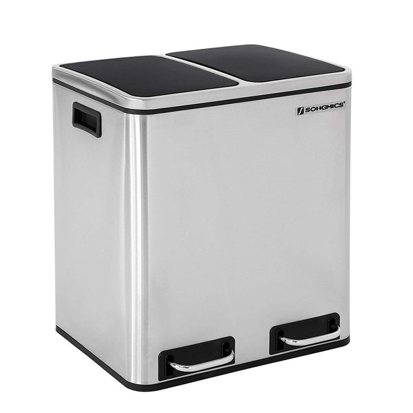 Nancy's Trash Waste 30 Liter - for rubbish - Pedal bin - silver - 41 x 36 x 47 cm