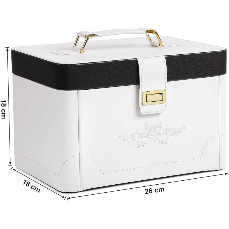 Nancy's Luxury Jewelry Organizer - Organizers Jewelry - Jewelry Boxes - White and Rose - 26 x 18 x 18 cm