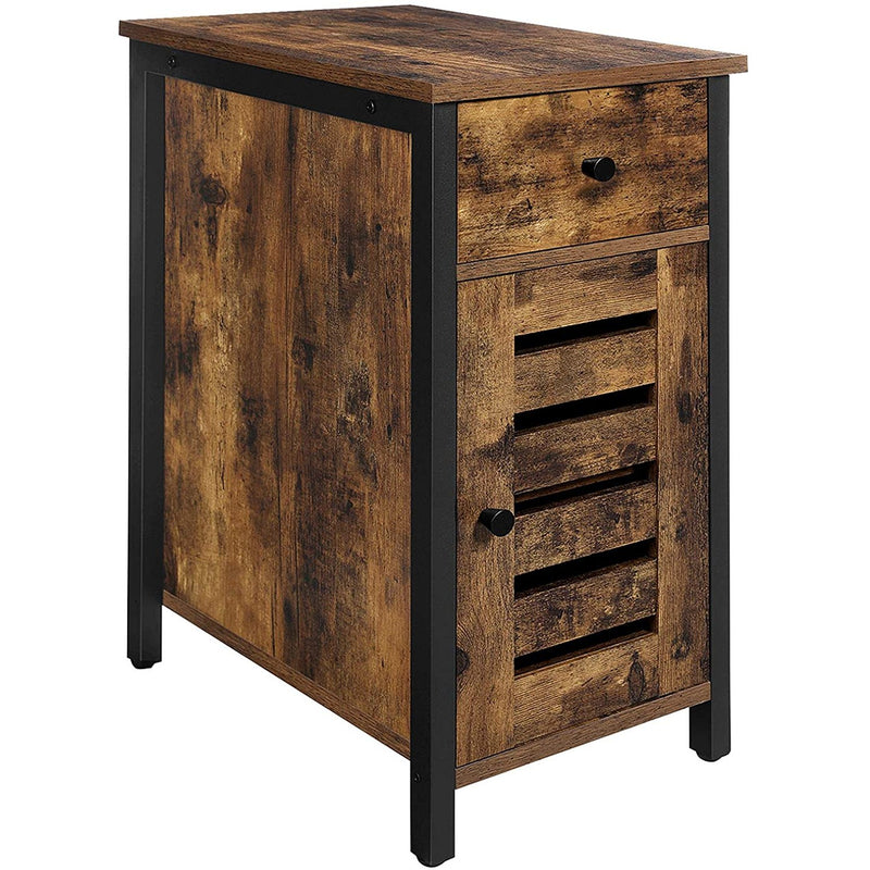 Nancy's Port Angeles Nightstand - Side table - Bedside Cabinets - Wood / Metal - Brown - 30 x 50 x 60 cm (L x W x H)