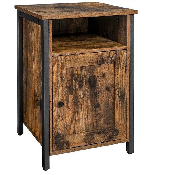 Nancy's Oak Harbor Nightstand - Bedside Cabinets - Industrial - Wood / Metal - Brown - 40 x 40 x 60 cm