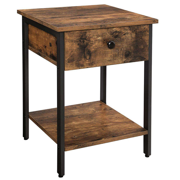 Nancy's Industrial Nightstand - Side table - Bedside - 2 shelves - Brown / Black - Metaaal - 40 x 40 x 55 cm