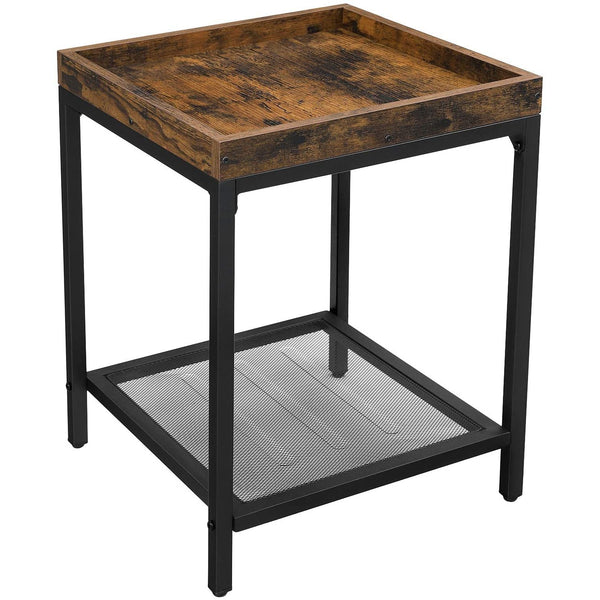 Nancy's Industrial Nightstand - Side table - Bedside - Layer 2 - Brown / Black - Metal - 40 x 40 x 55 cm