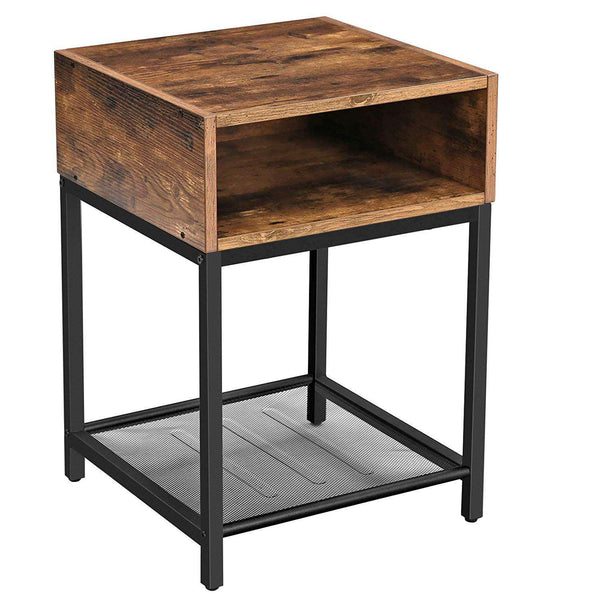 Nancy's Industrial Nightstand - Side table - Bedside - 2 shelves - Brown / Black - Metal - 40 x 40 x 58 cm