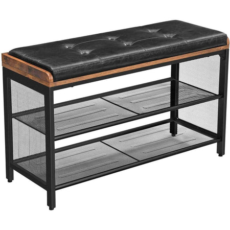 Nancy's Shoe Rack - Padded Bench with Grid Shelf - Metal Construction