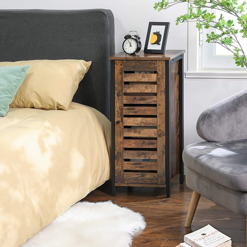 Nancy's Bedside Table - Small Side Cabinet - Industrial Style with Slatted Door - Side Table - 37 x 30 x 80 cm
