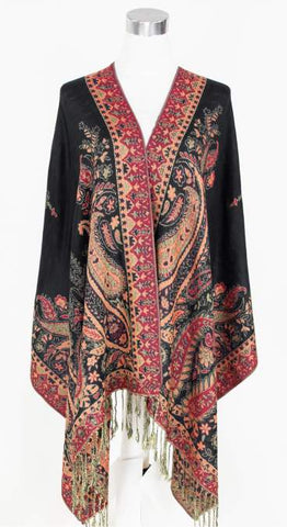 Red & Black Paisley Pashmina