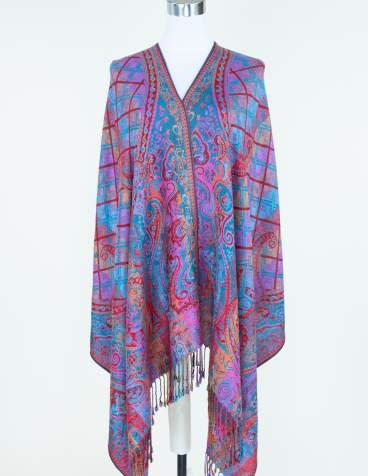Multi-color w/ Red Stripes Paisley Pashmina