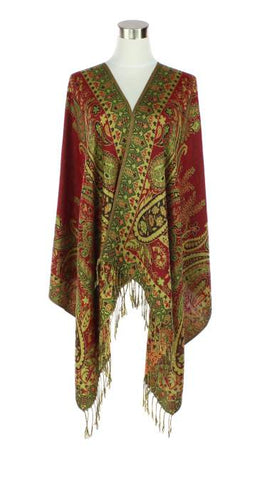 Red & Green Paisley Pashmina