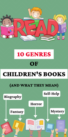 """pinterest pin that reads """"10 genres of children's books (and what they mean)"""""""
