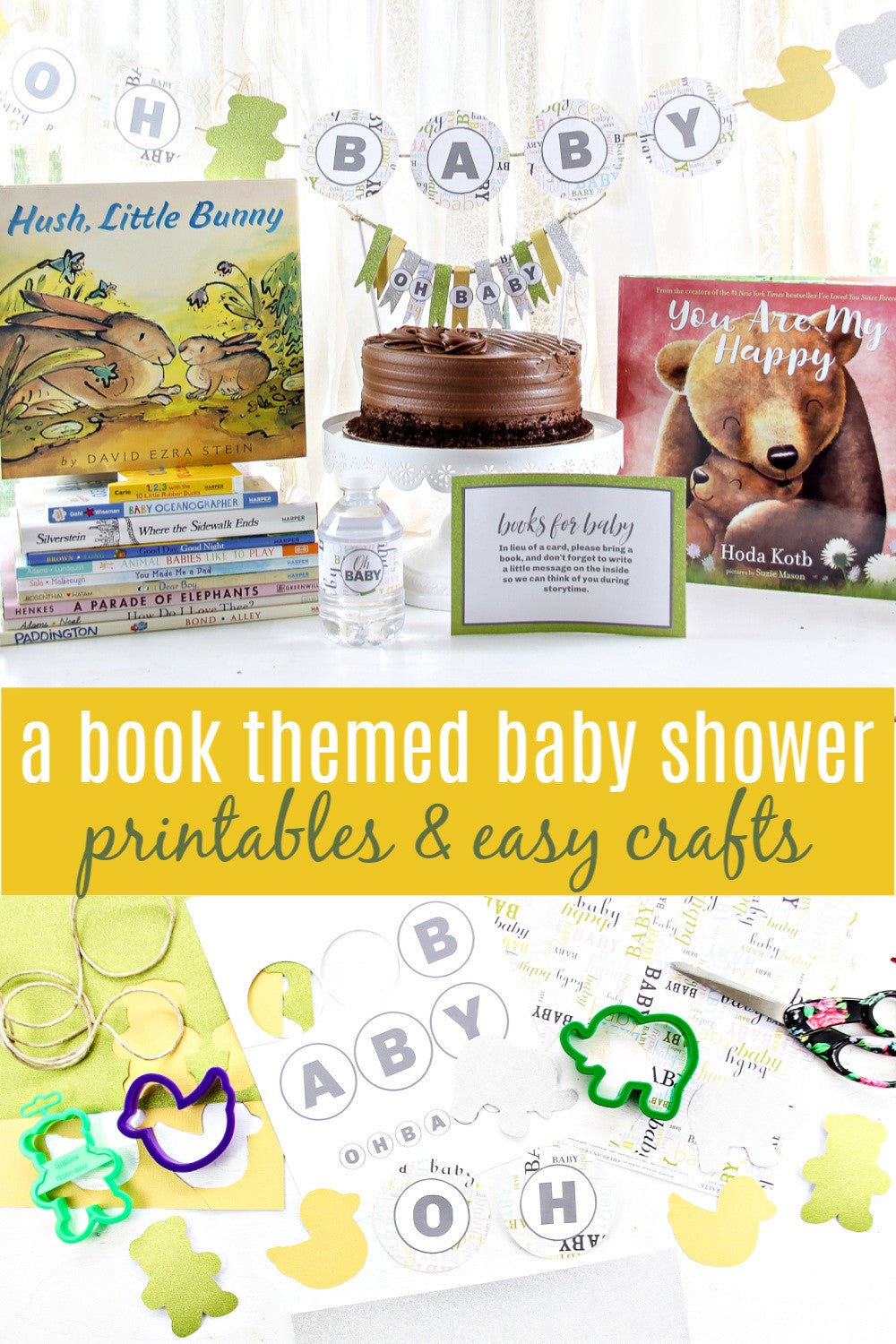 A book-themed baby shower printables & easy crafts
