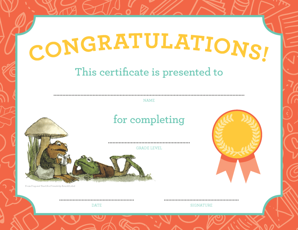 Frog and Toad graduation diploma