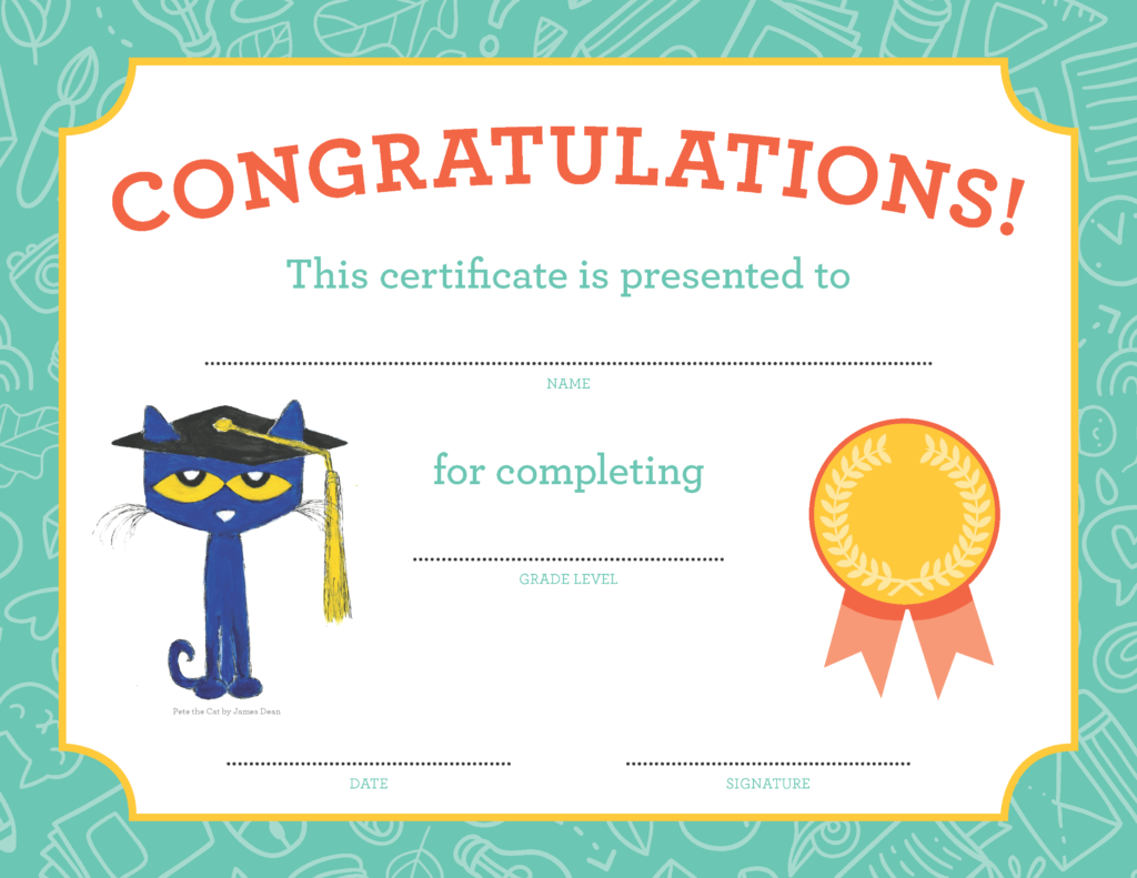 Pete the Cat graduation diploma