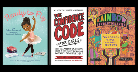 three examples of children's nonfiction titles: ready to fly, the confidence code for girls, and rainbow revolutionaries